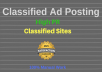 post your ad on 15 high PR classified websites
