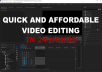 Affordable and quick video editing!  Does your video need that extra touch? I can edit your footage to make it flow properly and be more cinematic with the suitable editing techniques. These techniques include but are not limited to: snipping, cropping, colour correction, green screen, logos, subtitles/captions, sound effects/royalty free music, transitions, and more!  Music videos, social media highlights, adventure videos, advertisements, YouTube videos (Basic videos).   If the project is more complex, no worries, simply explain your vision and I will try to interpret and edit to the best of my abilities.  Note: Please have all footage/music/green screen, logos ect. ready before an order Note: I will only edit up to 10 minutes of raw footage