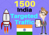 give 1500 India Targeted Human Traffic To Your Web Or Blog Site