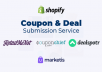 submit your shopify store coupon code to top 30 coupon sites