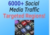 drive 6000 Social Media Traffic Targeted Regions