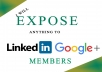 EXPOSE ANYTHING TO 15,000,000 LINKEDIN AND GOOGLE PLUS MEMBERS