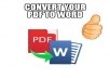 I will convert any of your pdf files into an editable word document for you.