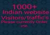 Hello, I will give you real permanent 1000/1k Indian website visitors fast non drop guaranteed, if you need this service please currently order me instant start guaranteed your order thank you.
