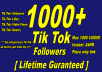 Give You Real 1000+ Tik Tok Followers Or 1K Tik Tok Likes Or 10K Tik Tok Video Views Or 1K Tik Tok Hearts Lifetime Guaranteed