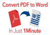 Hi, I am a professional data entry, pdf to editable word and I just discovered this amazing website where you can convert all your pdf files to word easily. Kindly order this gig and I will reveal the secret website to you and you can save extra cash by converting pdf files to word by yourself. This gig also has ebook bonus on how to use facebook for bussiness to advertise your businesses.