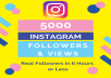 Get You 5000 Real Instagram Followers + 5000 Views