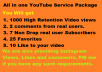 provide all in one YouTube Service Package with Likes, Views, Subscribers and comments