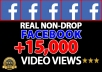 provide +15,000 Facebook Non Drop Video Views