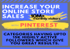 I will promote your online store or product to my 10 MILLION+ real monthly organic Pinterest viewers.  Your link(s) should contain pinnable image or you can send me an image along with the link if an image is not included.   I will pin your product along with a link from your store with relevant hashtags. Your pins will be live forever, the more time they are on Pinterest, the more traffic they will send you! Pinterest is a long term oriented, You may not see results instantly  Recommended niche: fashion.  Boards: Hairstyles Hair extensions Nails art Makeup Body care products Workout- Diet Animals  - and many more  *I make no promises or guarantees for traffic or sales.   *Individual results may vary, there is no guarantee with this service for increasing your sales!   *CLICKBANK & OTHER DIRECT AFFILIATE LINKS ARE NOT PERMITTED