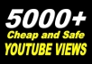 In this gig I'll provide you 5,000 Real YouTube views 20$. A Service To Improve The Popularity Of Your YouTube Videos and Increase Your Site/Blog Visitors....Videos with more Views often show up in Google search results. Also this helps you get found more often on YouTube Top Search Results.  Order now and get huge views on your video!!!