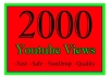 I will add 2000 youtube views I will promote and get your video safe youtube views, likes, Comments within 48hrs.  Here You Will Get 100% Organic And Non-Drop result    My service -     100% real and unique views 1500  views High retention Super fast delivery Get exposed, go viral on youtube Worldwide Split available
