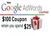 give 100 usd adwords coupon for Google ads USA Billing