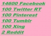 Give 15000 Social Signals Bookmarks From Facebook Tumblr Pinterest Reddit Twitter and Xing