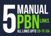 Provide 5 High PBN Backlinks