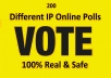 Bring up 200 Different IP Votes For Any Online Voting Contest Polls