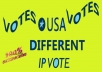 Give You 100+ Different IP or USA based IP Votes