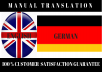 do manual translation between english and german of 1500 words