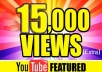 I will add 15000 youtube views I will promote and get your video safe youtube views, likes, Comments within 48hrs.  Here You Will Get 100% Organic And Non-Drop result    My service -     100% real and unique views 15000  views High retention Super fast delivery Get exposed, go viral on youtube Worldwide Split available