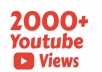 I will add 2000 youtube views I will promote and get your video safe youtube views, likes, Comments within 48hrs.  Here You Will Get 100% Organic And Non-Drop result    My service -     100% real and unique views 2000  views High retention Super fast delivery Get exposed, go viral on youtube Worldwide Split available