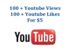 Give you 100 + youtube views and likes