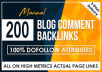 Do 200 High DA PA Dofollow Blog Comments Backlinks in High Authority