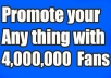COOLNESS!!! GREATEST SOCIAL PROMOTION SERVICE.ORDER NOW AND ENJOY. Want to Promote/Advertise your Business,Website,Apps,E-Books,Photo,Affiliate links,Products,YouTube,E Bay/Amazon Items and Products,Shop,Facebook page,Video or Any other Link?We will share your link with more than 4,000,000 real and Active people friends, followers,Groups and fans. For More Expose and Maximum Effect,