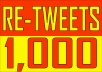 Give 1,000 High quality twitter, (USA) retweets