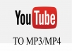 Hello customers!     My service is to do the following:     - I will download a youtube video for you by converting it into an mp3 or mp4 file and then I share it by google drive to save it to your pc     - 1 vídeo   Regards  yonnathan03  Thank you