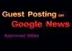 Guest post on google news approved site Dofollow backlink