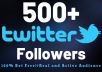 provide 500+ Twitter Followers
