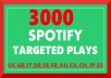add 3000 Spotify Targeted Plays for track, album or playlist