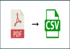 convert pdf  to CSV to import in quickbook and xero