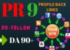 manually create 100 pr9 da 90 dofollow profile backlinks