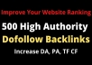 do 500 high authority SEO dofollow backlinks