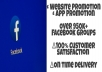 promote websites and business in Facebook groups having 990k + members