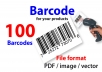 I will create 100 of Barcodes for your product. and will supply in File format PDF/image/vector as per your request.