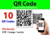 I will create 10 of QR Codes (it will contain your complete contact information, such as Name, Occupation, Company, Contact, Email, Website, Locations, etc). We can do it in different colors also (its Free on your request)