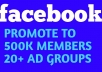 Are you looking for promoting your business, website, product or service through social media? We are here for your. We will promote your business to high rated facebook groups. Increase your leads, boost your sales and rank your pages.  What you will get for 5 pound: We will share your ad to facebook groups having 500k active members. we will provide screenshots of your ads that we posted.  what we need from you: You have to provide the content and website address of your post.