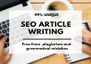write very compelling, unique and engaging articles and blog posts for you.