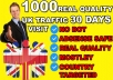 Send 50000 UK Real quality Visitors To Your Website