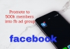 Promote your business 500k members through facebook