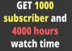 I am working on YouTube from a very long time. I am offering YouTube Monetization service . I will help you to get 1000 Subscribers and 4000 hours watch time..... I am Giving Real and Genuine subscribers and watch time .. I am not using and software to give fake work.... I am giving 100%  Guarantee That you will get Real work. You just need to provide Your YouTube channel URL....  1000 Subcribers = $ 20 4000 Hours watch time = $ 100 2000 Hours Watch time = $ 50