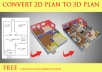 make 3D floor plan from 2D plan
