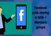 promote your business, Websites and products Through facebook group having 500k + members