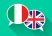 provide a professional english to italian translation