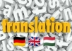 translate any text from: german to english, english to german, german to hungarian, english to hungarian.
