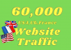 Provide you real 60,000+ USA,UK,FRANCE website traffic visitors from worldwide  We will drive targeted website visitors from Worldwide. Contact us for other countries. We will send organic Worldwide Traffic from Google to boost Alexa ranks and improve SEO. If you need high-quality Worldwide visitors for Stores, Products and Affiliate websites, you can order using our Worldwide Traffic on the following  We are one of the best website traffic providers on gigbucks. Our services helped hundreds of our customers all over the world and improved thousands of websites. Boost your Website and Grow your Business by using our Web Visitors.  Features of Worldwide web visitors with target search keywords: Google organic traffic Real genuine visitors from unique IP Tracked by Google Analytics Boost Alexa ranks A tracking link provided Available support 24/7 100% Satisfaction Guaranteed SEO friendly  WHAT DO I NEED FROM YOU? Site URL 3 Keyword