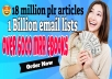 get over 18 million plr articles, 1 billion email list , email marketing