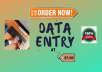do Data Entry and Data Scraping in 24 hours